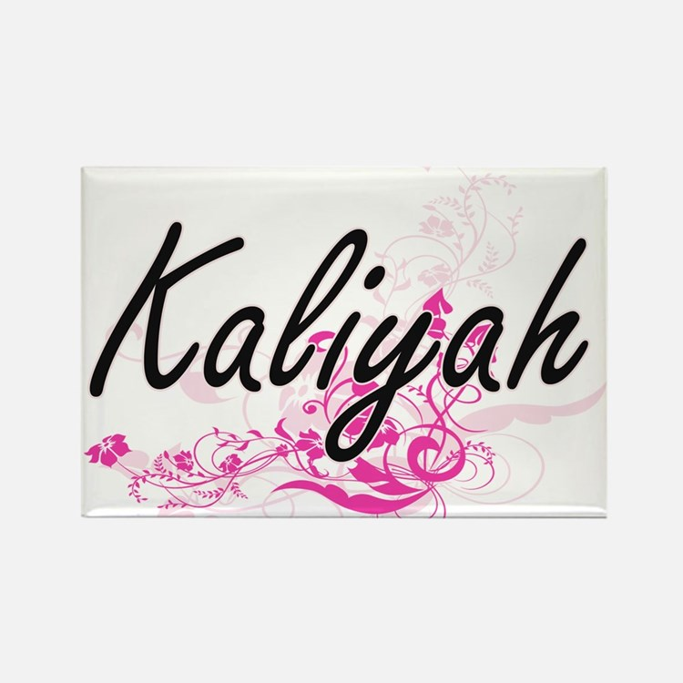 Kaliyah Artistic Name Design with Flowers Magnets