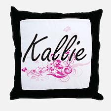 Kallie Artistic Name Design with Flow Throw Pillow