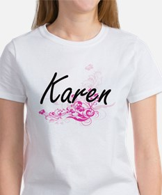 Karen Artistic Name Design with Flowers T-Shirt
