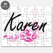 Karen Artistic Name Design with Flowers Puzzle