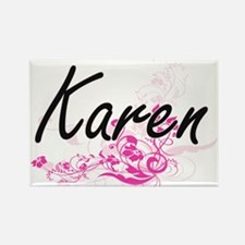 Karen Artistic Name Design with Flowers Magnets