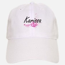 Karissa Artistic Name Design with Flowers Baseball Baseball Cap