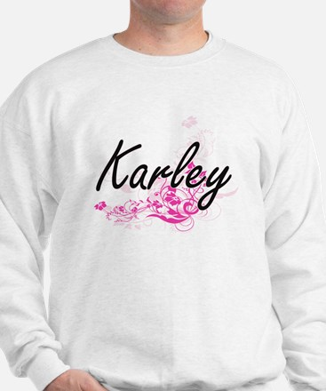 Karley Artistic Name Design with Flower Sweater