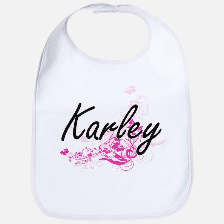 Karley Artistic Name Design with Flowers Bib