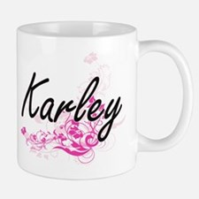 Karley Artistic Name Design with Flowers Mugs
