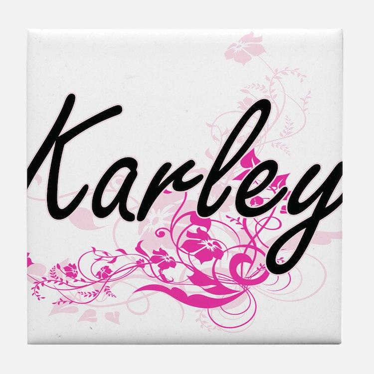 Karley Artistic Name Design with Flow Tile Coaster
