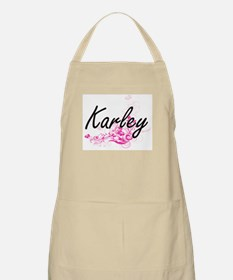 Karley Artistic Name Design with Flowers Apron