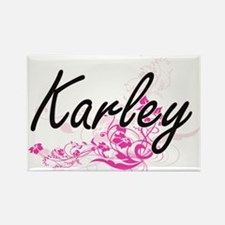Karley Artistic Name Design with Flowers Magnets