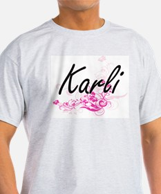Karli Artistic Name Design with Flowers T-Shirt