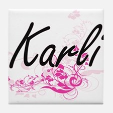 Karli Artistic Name Design with Flowe Tile Coaster