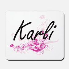 Karli Artistic Name Design with Flowers Mousepad