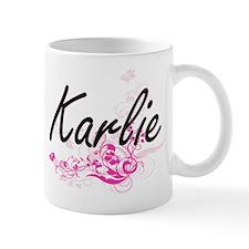 Karlie Artistic Name Design with Flower Mugs