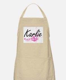 Karlie Artistic Name Design with Flowers Apron