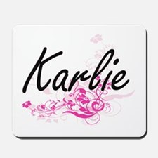 Karlie Artistic Name Design with Flowers Mousepad