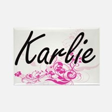 Karlie Artistic Name Design with Flowers Magnets