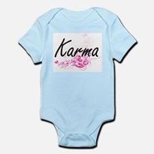 Karma Artistic Name Design with Flowers Body Suit
