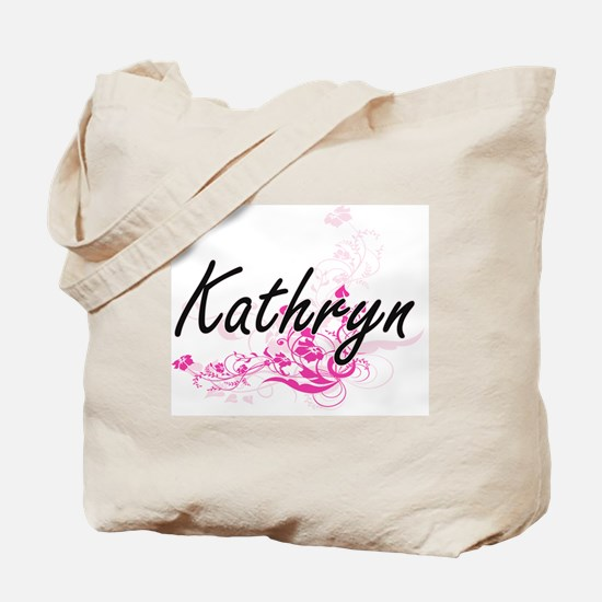 Kathryn Artistic Name Design with Flowers Tote Bag
