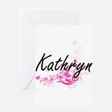 Kathryn Artistic Name Design with F Greeting Cards