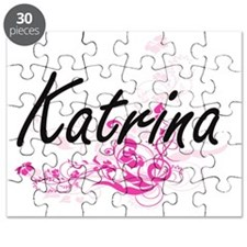 Katrina Artistic Name Design with Flowers Puzzle