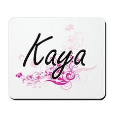 Kaya Artistic Name Design with Flowers Mousepad