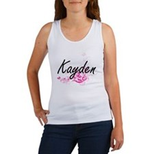 Kayden Artistic Name Design with Flowers Tank Top