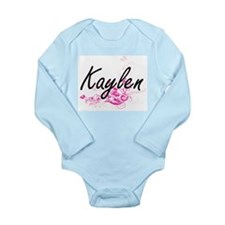 Kaylen Artistic Name Design with Flowers Body Suit