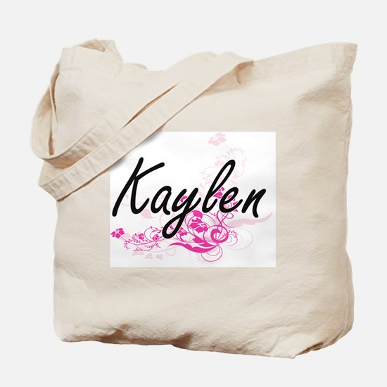Kaylen Artistic Name Design with Flowers Tote Bag