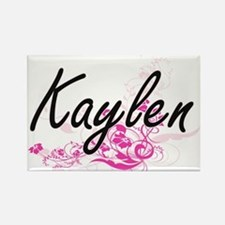 Kaylen Artistic Name Design with Flowers Magnets