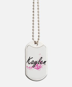Kaylen Artistic Name Design with Flowers Dog Tags