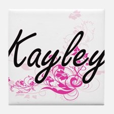 Kayley Artistic Name Design with Flow Tile Coaster