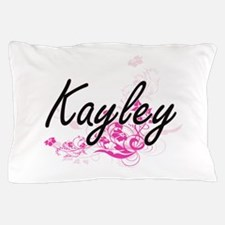 Kayley Artistic Name Design with Flowe Pillow Case