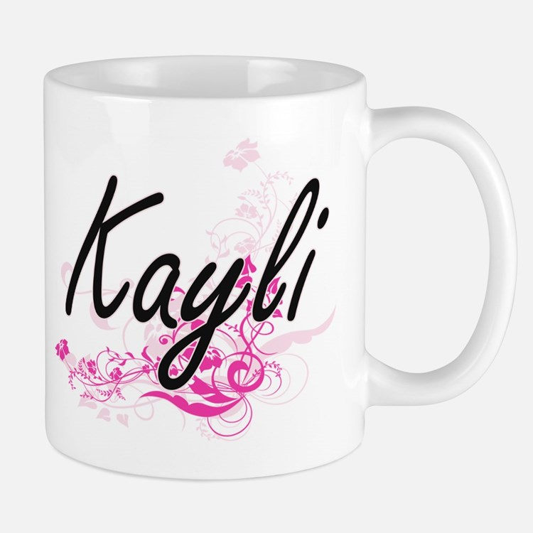 Kayli Artistic Name Design with Flowers Mugs