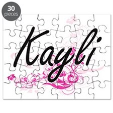 Kayli Artistic Name Design with Flowers Puzzle