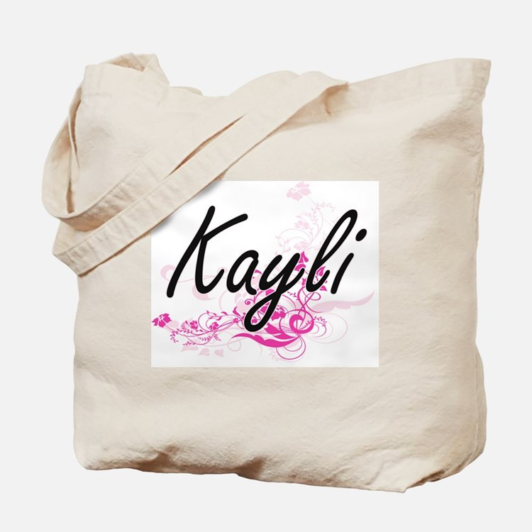 Kayli Artistic Name Design with Flowers Tote Bag