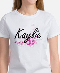 Kaylie Artistic Name Design with Flowers T-Shirt