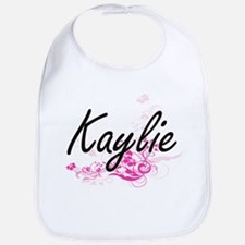 Kaylie Artistic Name Design with Flowers Bib