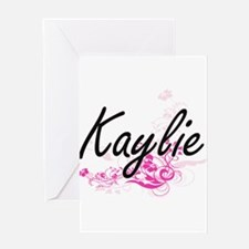 Kaylie Artistic Name Design with Fl Greeting Cards