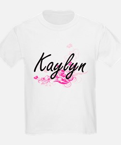 Kaylyn Artistic Name Design with Flowers T-Shirt
