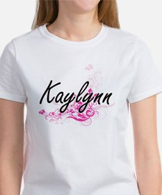 Kaylynn Artistic Name Design with Flowers T-Shirt
