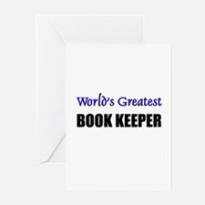 Worlds Greatest BOOK KEEPER Greeting Cards (Pk of