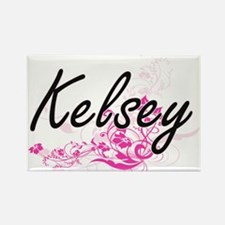 Kelsey Artistic Name Design with Flowers Magnets