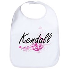 Kendall Artistic Name Design with Flowers Bib