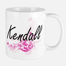 Kendall Artistic Name Design with Flowers Mugs