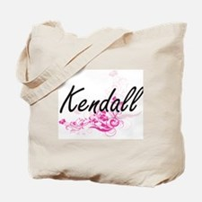 Kendall Artistic Name Design with Flowers Tote Bag