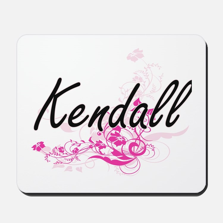 Kendall Artistic Name Design with Flower Mousepad