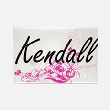 Kendall Artistic Name Design with Flowers Magnets