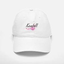 Kendall Artistic Name Design with Flowers Baseball Baseball Cap