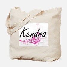 Kendra Artistic Name Design with Flowers Tote Bag