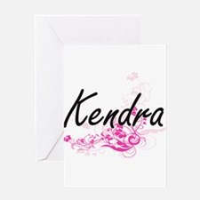 Kendra Artistic Name Design with Fl Greeting Cards