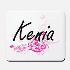 Kenia Artistic Name Design with Flowers Mousepad